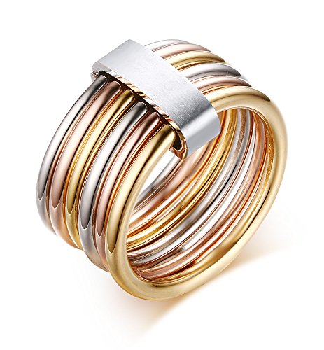 VNOX Stainless Steel Wrap Ring for Women Wedding Promise Engagement,Tri-Color,Gold,Silver,Rose,Size 9 ()