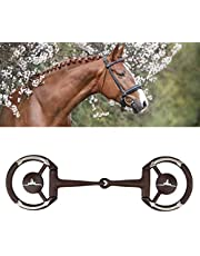 Horse Ring Snaffle Horse Chew Durable Stainless Steel Mouth Bit Mouth Snaffle Bit Antique Western Bit Trims Mouth with Copper Inlay w/Gs