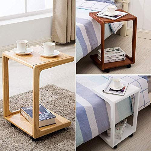 CWJ Household Small Table U Shaped Sofa Side Birch Wood Couch Slide Under End Snack Simple Creative Bed Multifunction Table,Walnut Color