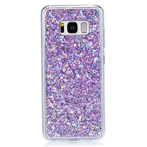 Funda Samsung Galaxy S8 Plus, Carcasas para Samsung Galaxy S8 Plus, EUWLY Brillo Purpurina Funda Cover Lujo Moda Diseño Suave Flexible Slim Silicona Carcasas Caso Elegante Funda Bling Glitter Sparkle  Glitter Púrpura