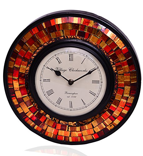 Brown Crystal Clock (Purpledip Wall Clock 'Red & Brown Magic'' - Mosaic of Glistening Red & Brown Crystal Pieces set in Wood Frame for a Magical Effect | Size: 1212 inches (10554))
