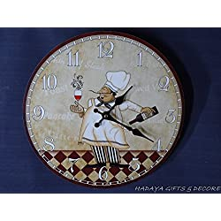 hadaaya gifts & home decor Faded Antique Look Wall Clock,French CHEFF Accents Shabby Chic, 13 inch Round Wooden Wall Clock