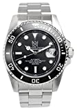 HYAKUICHI 101 Men's Diver's 20BAR Automatic Analog Stainless Steel Black Watch