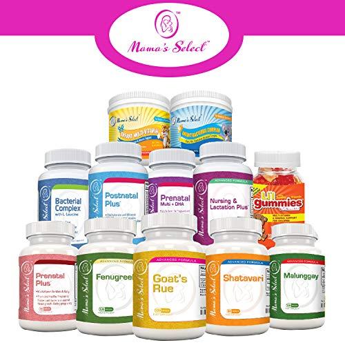 Multivitaminas prenatal y postnatal con DHA - Vitaminas libres de lactosa de Mothers Select - Sin lácteos ni gluten - Ácidos grasos omega 3, ácido ...