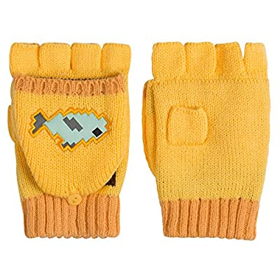 JINX Minecraft Ocelot Fingerless Knit Gloves with Convertible Mitten Cover (Yellow, One Size) from JINX