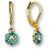 Kids Jewelry Sparkle Flower Crystal Dangle Earrings for Big Girls and Little Girls Earrings | 18k Gold Plated Earrings | Leverback Earrings for Kids | Crystal Earrings for Girls Flower Earrings Set