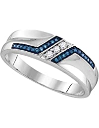 Sterling Silver Mens Round Blue Colored Diamond Wedding Band 1 5 Cttw I2