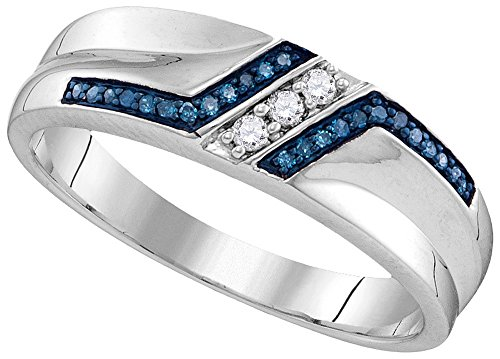 Sterling Silver Mens Round Blue Colored Diamond Wedding Band 1/5 Cttw (I2-I3 clarity; Blue color) by Jewels By Lux
