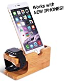 Wooden Apple iPhone iWatch Bamboo Stand Charging Cradle Holder Nightstand Station 2 in 1 Dual Charger Dock Fits iPhone X / 8 / 7 / 6 Plus, 5 and older, iWatch 42mm & 38mm Original BASIC and SPORT