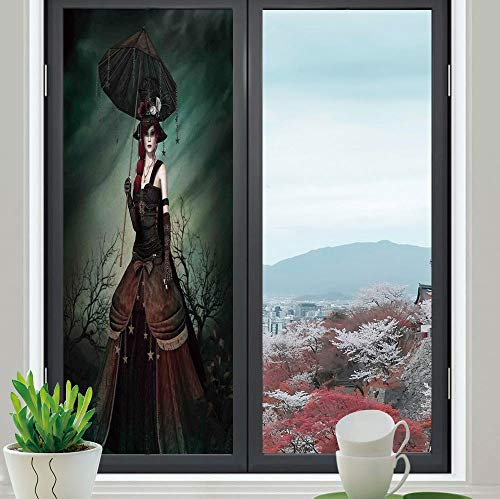 YOLIYANA Stained Glass Window Film,Gothic,for Bathroom Shower Door Heat Cotrol Anti UV,Grunge Style Mysterious Strange Woman in Forest with,24''x70''