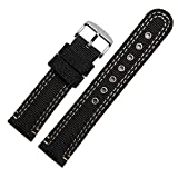 Zhuolei 20 22mm Breathable Canvas Watch Band Strap Generic for Casio Citizen BM8475 AW5000 AW5005 (22mm with Silver Buckle, Black/Black sew)