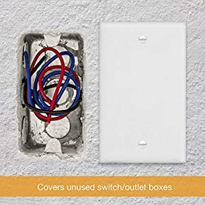 ENERLITES Blank Device Wall Plate, Size 1-Gang 4.50″ x 2.76″, Polycarbonate Thermoplastic, Electrical Covers for Unused Outlets/Switches, 8801-W-10PCS, White (10 Pack), 10