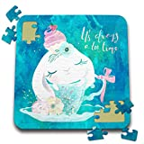3dRose Uta Naumann Sayings and Typography - Cute Teal Animal Watercolor Illustration - Bunny - Always Teatime - 10x10 Inch Puzzle (pzl_289941_2)