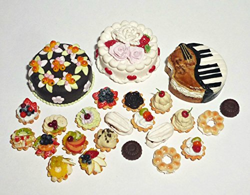 Pastry baskets with fruits cakes Valentin, violin, pear orchard. Dollhouse miniature 1:12