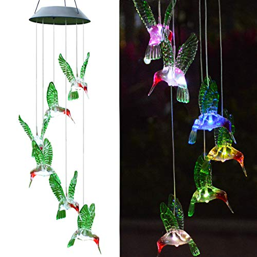 Windpnn Solar Hummingbird Wind Chime, Color Changing Outdoor Solar Powere WindChimes LED Waterproof Hanging Lamp for Home Garden Patio Porch (Hummingbird Windchime)