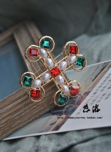 antique models baroque pearl red green and multicolored Maltese cross ()
