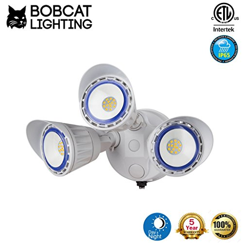 Bobcat Lighting 30 Watt Three Head Dusk to Dawn Photocell LED Flood Lights Adjustable Outdoor Flood Lighting 3200 Lumens 5000K All Metal Durable Design (Bl Switch Box)