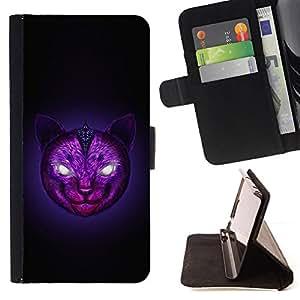 GIFT CHOICE / Billetera de cuero Estuche protector Cáscara Funda Caja de la carpeta Cubierta Caso / Wallet Case for Apple Iphone 6 // Purple Cat Digital Art //