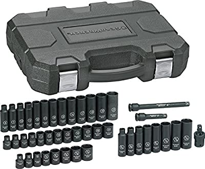 "GEARWRENCH 3/8"" Drive 6 Point Standard & Deep Impact Metric Socket Set, Black"