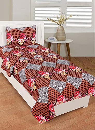 Global Home 3D 180 TC II Check Print Bedsheets Single bedsheet with Pillow Cover II Size 60X90 Inch – Brown