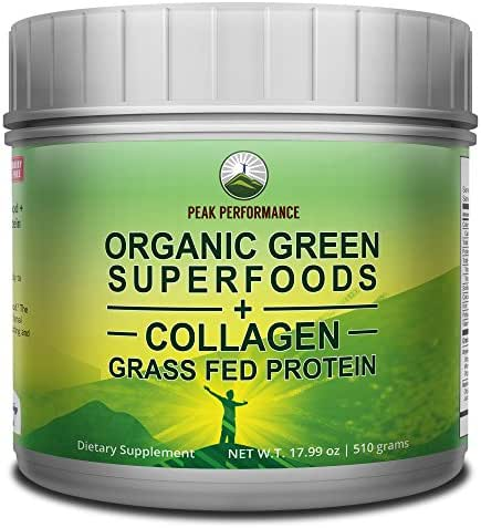 Peak Performance Organic Greens Superfood Grass Fed Collagen - Ultimate Blend of Best Tasting Organic Green Juice Superfood with Pure Pasture Raised Hydrolyzed Protein Powder. 42+ Greens and Aminos