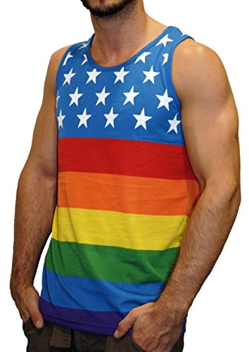 Exist Licensed-Mart Men's American Pride Flag Tank Top, Rainbow Stars, XX-Large ()