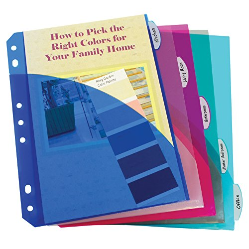 Poly Index Tabs (C-Line Mini Size 5-Tab Poly Index Dividers with Pockets, for 5.5 x 8.5, 6 x 9 and 8.5 x 11 Binders, Assorted Colors, One 5-Tab Set (03750))