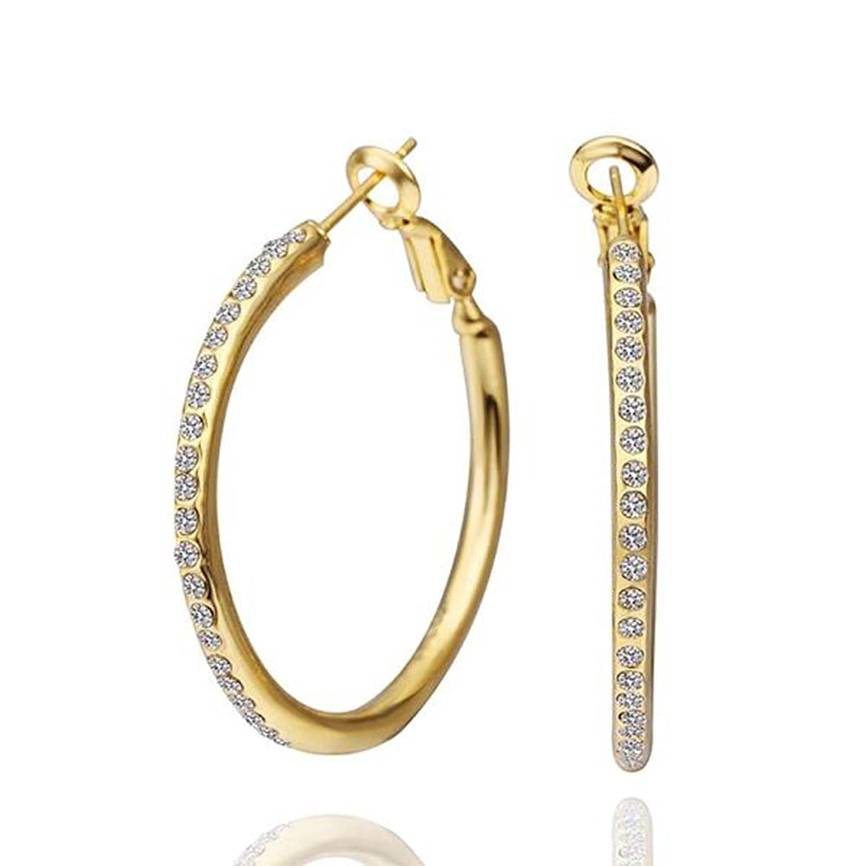 Wonvin Moda Mujer Pendientes de aro de diamante de oro K plateado
