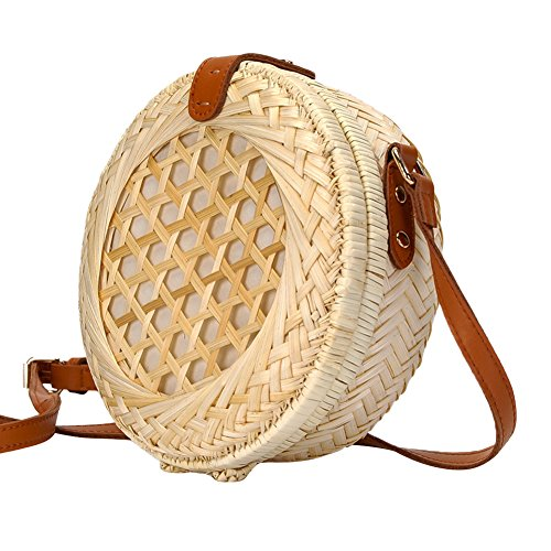 Summer Women Beige Beach Bags iShine Bags Round Bag Weave iShine Shoulder Bag Crossbody Handmade Bamboo fvwzx6
