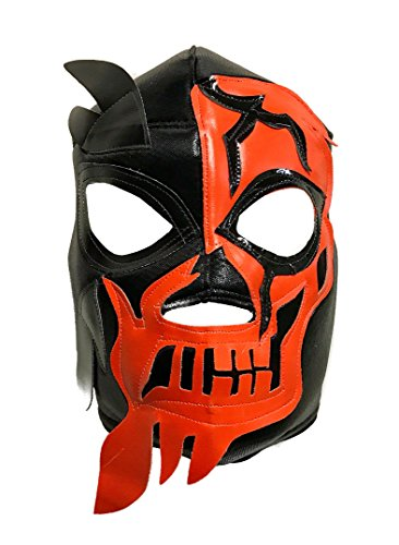 HALLOWEEN SKULL Lucha Libre Wrestling Mask (pro-fit) Costume Wear - Orange by Mask Maniac