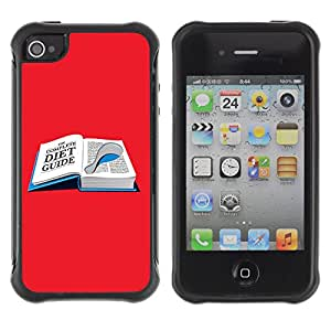 Hybrid Anti-Shock Defend Case for Apple iPhone 4 4S / Diet Book