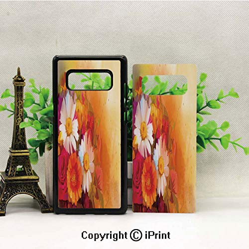 - Case for Galaxy note8,Vivid Flower Bouquet with Roses Daisy Gerbera Blossoms Flourishing Artwork Shockproof Series TPU Bumper Protective Case for Samsung Galaxy note8, 2017 Release Print Design Orang
