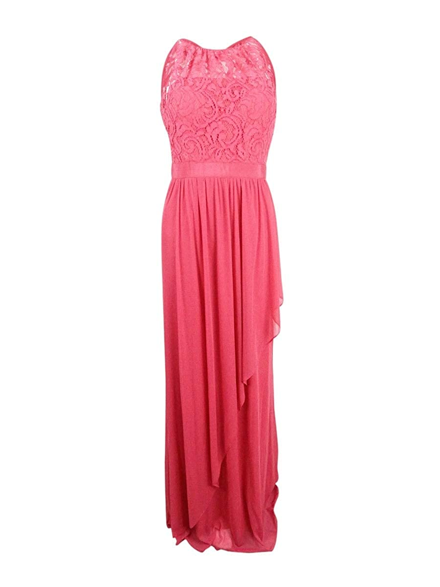 French Coral Adrianna Papell Womens Formal Lace Evening Dress