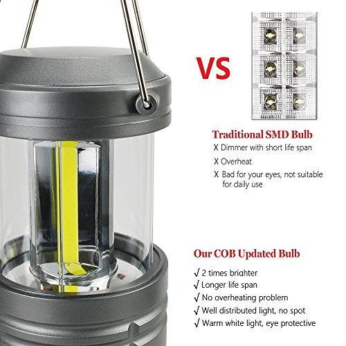2 Pack portable lanterns with Magnetic Base, Hausbell cob LED Camping lantern collapsible Flashlights - Survival Kit for Emergency, Hurricane, Storm, Outage
