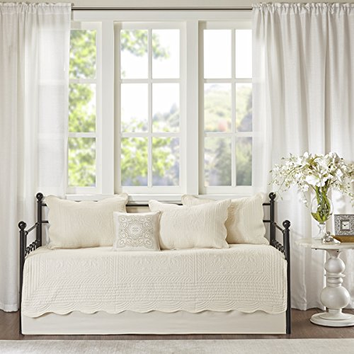 Venice Ivory 6 Pieces Quilted Daybed Cover Set With Scalloped Edges