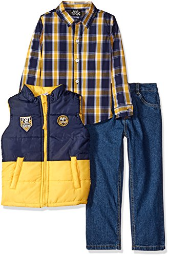 Boys Rock Little Boys' Toddler 3 Pc Puffy Vest Set Color Block, Gold, 4T - Gold Colour Block