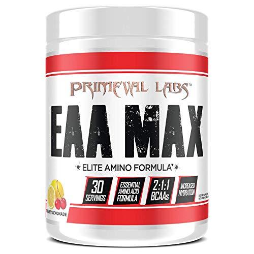 Primeval Labs EAA Max, Amino Acid Supplements, BCAAs, EAAs, Electrolytes, Enhances Performance, Supports Hydration, Improves Metabolism, Cherry Lemonade, 30 Servings