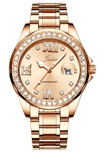 Jechin Women's Luxury Quartz Wristwatch Charm Rose Gold Crystal Diamond Dial Bracelet Watches for ()