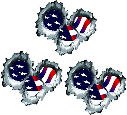 Three (3) BEST SELLER American Flag Version 2 Bullet Holes 3D | Hard Hat Stickers - USA Welder Electrician Scaffolder Welding EkUnion Stickers
