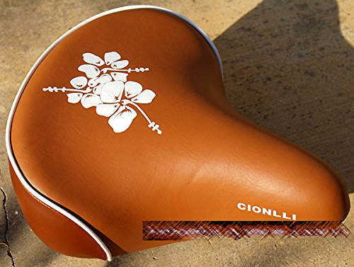 Cionlli Saddle - Brown with white flowers, Classic Style Seat for Adult & Kid Beach Cruiser Bikes, Twin-spring suspenion. Made in Taiwan!