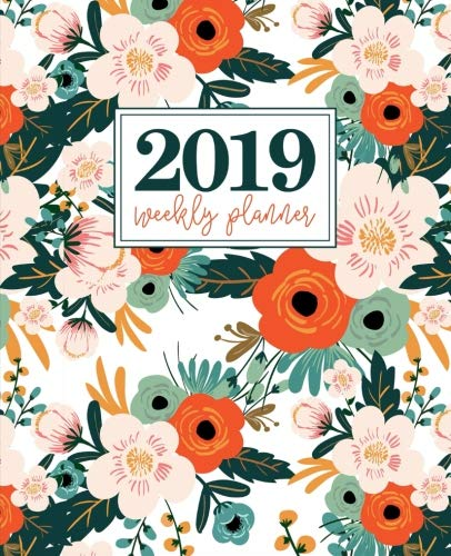 """2019 Weekly Planner: Portable Format 7.5""""x9.25"""" (19x23cm) Weekly & Monthly Planner: 12 Months: Orange Pink & Mint Florals 5555"""