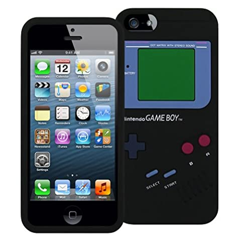 Game Boy Style Case for iPhone 5/5S - TPU Silicone Skin Cover (Black) (Sonic Iphone 4s Case)