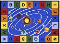 Ottomanson Jenny Collection Blue Base with Multi Colors Kids Children's Educational Our Solar System Design Area Classroom Rugs