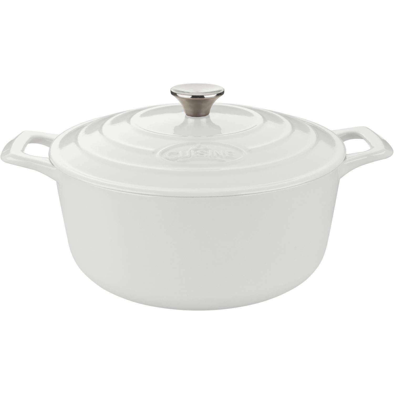 La Cuisine LC 5180MB PRO Round 3.7 Qt. Cast Iron Casserole with Enamel Finish, White Quart