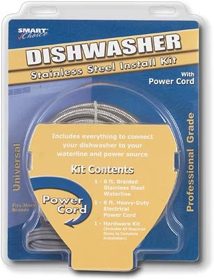 New Smart Choice 6/' Stainless Steel Dishwasher Install Kit w// Power Cord