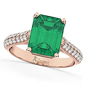 (5.542ct) 14k Rose Gold Emerald Cut Emerald and Diamond Engagement Ring
