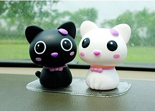 Flee Set of 2 Bobblehead Doll Lovely Cat Spring Doll Decorations for Car Home Gift for Friends