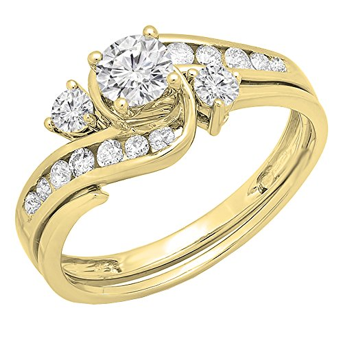 Dazzlingrock Collection 0.90 Carat (ctw) 14K Round Diamond Swirl Bridal Engagement Ring Set 1 CT, Yellow Gold, Size 7