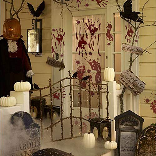 OTBBA Halloween Decorations(40 PCS), Horror Bloody Handprints&Footprints Stickers Halloween Decor Vampire Zombie Party Decals with One Plastic Scraper by OTBBA (Image #1)