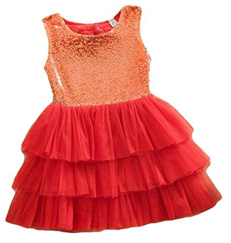 Cruiize Girl's Sleeveless Princess Splice Sequins Tutu Bbowknot Back Dress Red 6X by Cruiize